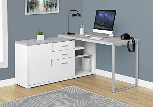 Monarch Specialties Computer Desk - 60'L White / Cement-Look Left/Right Face