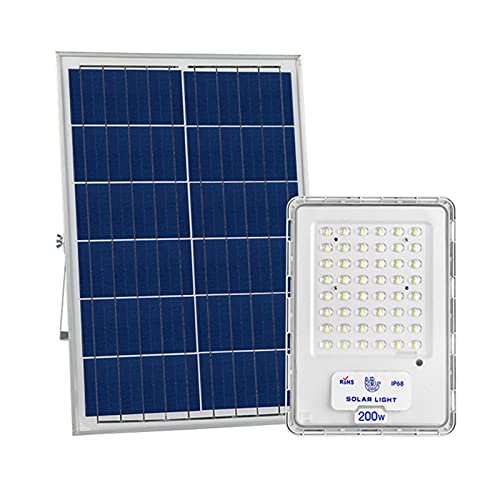 Foco Solar Exterior 100W 200W 300W Impermeable ,110LM / W 6500K ,luces Solares Jardin 96 Cuentas De Lámpara, Control De Luz Inteligente Farolas Solares Exterior...