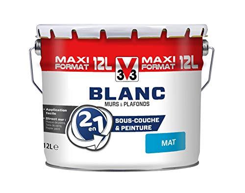 V33 112297 Peinture 2 en 1 Murs et plafonds, Blanc Mat, 12L