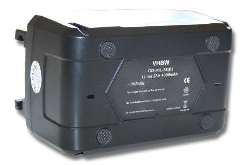 vhbw Batería compatible con Milwaukee HD28 AG 125, HD28 AG herramientas eléctricas (4000mAh Li-Ion 28V)