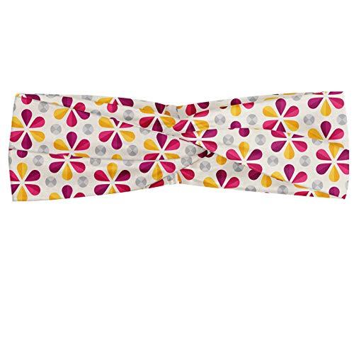 ABAKUHAUS Diadame Abstracto, Banda Elástica y Suave para Mujer para Deportes y Uso Diario Repetitivo ejemplo colorido de las flores de Origami en el fondo en colores pastel, Marfil y Multicolor