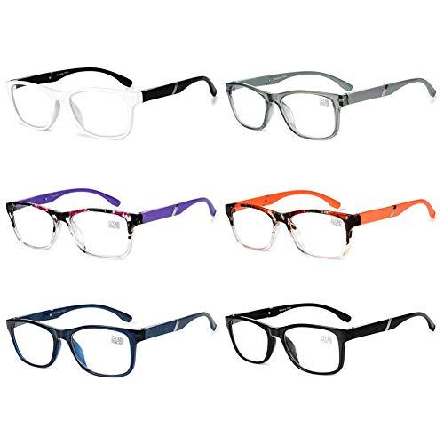 VEVESMUNDO Lesebrille Damen Herren Halbrahmen Federscharnier Vintage Halbbrille Lesehilfe Sehhilfen Brillen mit Stärke 1.0 1.5 2.0 2.5 3.0 3.5 4.0 (6 Stück Lesebrillen, 2.0)