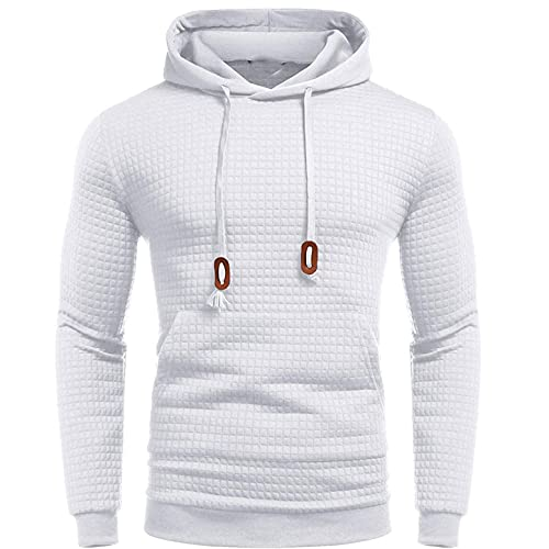 Gillberry Sweatshirts for Men Pullover Long Sleeve with Pocket Active Streetwear Fashion Slim Fit Solid Hooded Tops White