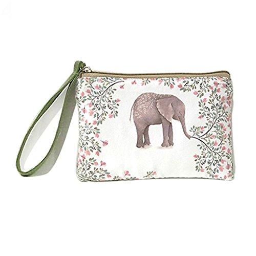 Pengyu Women Fashion Mini Cute Elephant Elk Whale Cat Printed Handbag Coin Purse Wallet (4)