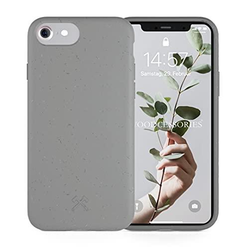 Woodcessories - Handyhülle kompatibel mit iPhone SE 2020 Hülle grau, iPhone 8 Hülle grau, iPhone 7/6 / 6s - Nachhaltig, aus Pflanzen