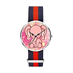 SunbirdsEast Cute elephant Watch Nylon Band for Men 40mm. The core of dial plate adopts imported materials with the high cost and exquisite workmanship,so it served a good dynamic support to the watch. The mirror surface adopts the drilling surface c...