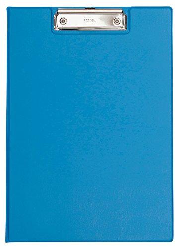 Maul Schreibmappe mit Folienüberzug, Aufklappbares Klemmbrett, Innentasche, Größe A4 hoch, Hellblau, 2339234, 1 Stück