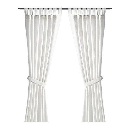Ikea Lenda - Cortinas con alzapaños (1 par, 140 x 300 cm), Color Blanco