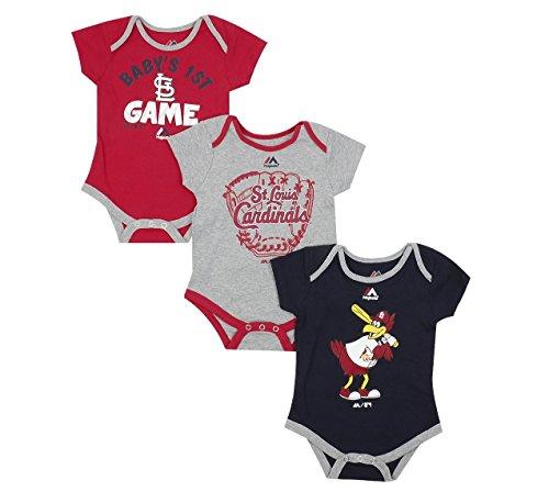 Outerstuff St. Louis Cardinals Small Fan Baby/Infant 3 Piece Creeper Set 24 Months