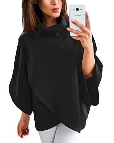 YOINS Damen Pullover Oberteil Poncho Winter Warm Asymmetrische für Damen Pulli Cardigan Sweatshirt Rollkragenpullover Langarm Schwarz S