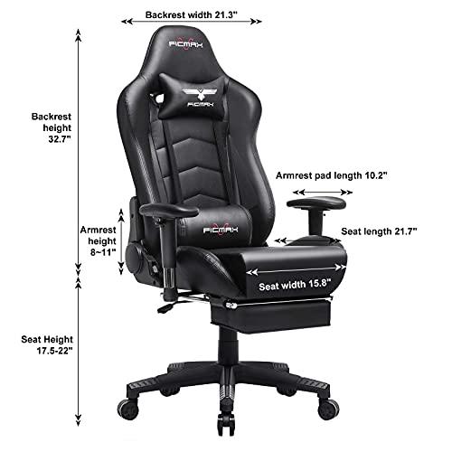 Silla ergonómica para juegos, estilo de carreras, silla de oficina, respaldo alto, tamaño grande, silla ejecutiva para ordenador, silla de escritorio con soporte lumbar de masaje y reposapiés