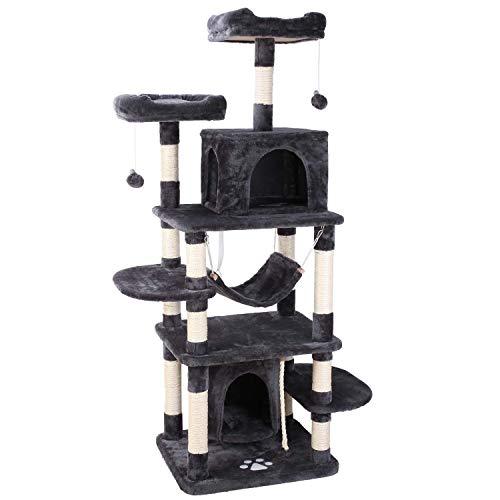 pedy Árbol para Gatos, Rascador con Nidos, Torre de Escalada 170cm con Hamaca, Plataforma, Bolas de Juego y Juguete de Sisal Natural, Diseño Anticaídas, Gris