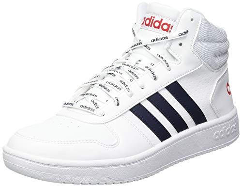adidas Hoops 2.0 Mid, Zapatillas de bsquetbol Hombre, FTWR White Legend Ink Scarlet, 44 EU