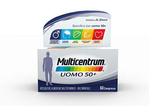 Multicentrum Uomo 50+ Integratore Alimentare multivitaminico e multiminerale completo, Vitamine D, A-Z, Senza Glutine e Zuccheri, 60 compresse