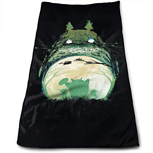 Anime My Totoro Toallas Algodón Cara Altamente Absorbente Suave Sensación Dedos Adecuado Familias Hoteles Baños Playas 27.5x12In