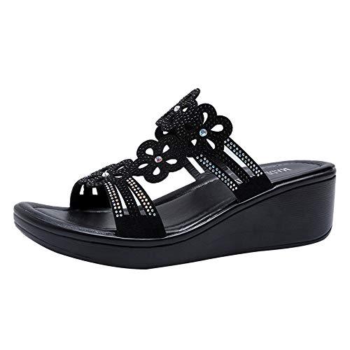 Sandalias Negras Para Mujer Primavera Y Verano Moda Salvaje Zapatos De Mujer Grueso Tacón Alto Rhinestone De Fondo Grueso Estilo Hada Zapatillas Cómodas Para Mujer