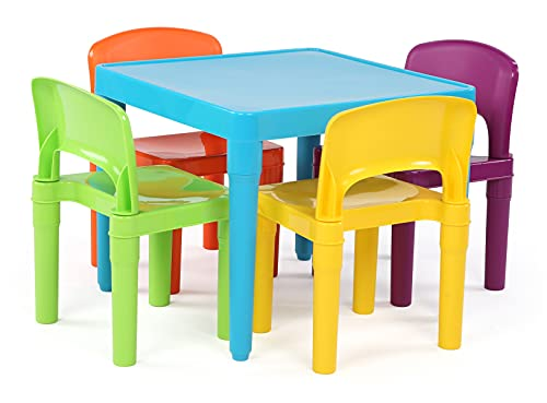 Humble Crew, Blue Table & Red/Green/Yellow/Purple Kids Lightweight Plastic Table and 4 Chairs Set, Square