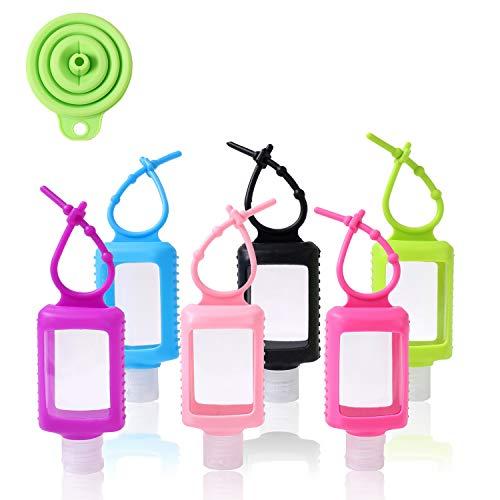 Flaconcini vuoti da 60 ml con clip, con imbuto, per contenere disinfettante per le mani per bambini e famiglie durante le gite, in plastica, confezione da 6 pezzi