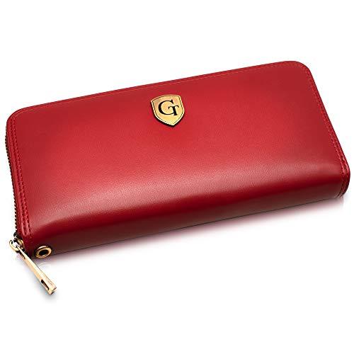 Mailand Damen Geldbörse - Großes Frauen Portemonnaie mit RFID Schutz - XL Geldbörse mit vielen Fächern - Geschenk für Damen - erhältlich in 5 Farben (Rubinrot - Glatt)