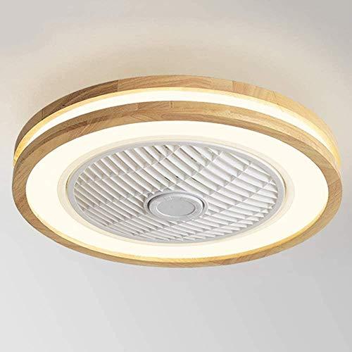 WTTCD Ventilador De Techo De Madera Maciza Con Iluminación, Con Control Remoto Led De 36W, Velocidad Del Viento Ajustable Y Atenuación, Ventilador De Techo Silencioso Con Luz Redonda