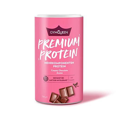 GYMQUEEN Premium Protein Pulver 750g | Mehrkomponenten Eiweiß-Pulver mit Whey Protein Konzentrat, Isolat und Casein für den Muskelaufbau | Cremiger Protein-Shake mit Laktase | Schoko Geschmack