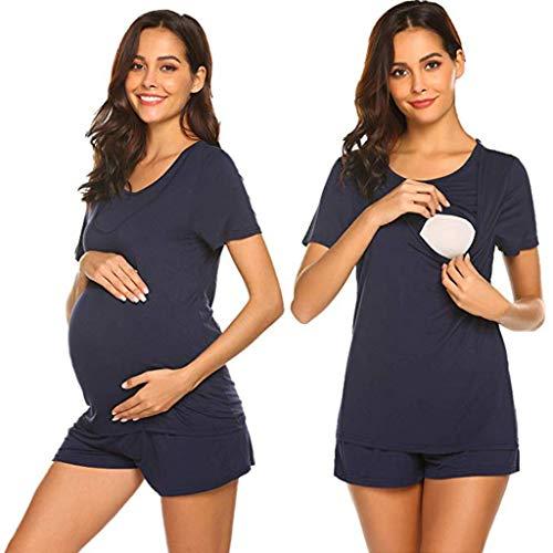 Fheaven Women Maternity Casual Shirt Pajamas Set Short Sleeve Breastfeeding Pregnancy Nursing Blouse +Shorts Navy
