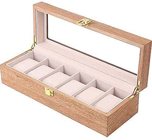 HKX Caja de Almacenamiento de Reloj de Madera 6 Ranuras Exhibición de joyería Brazalete Almohada Tienda Caja de bisagra de Metal Cubierta de Vidrio Caja de Almacenamiento de Pulsera