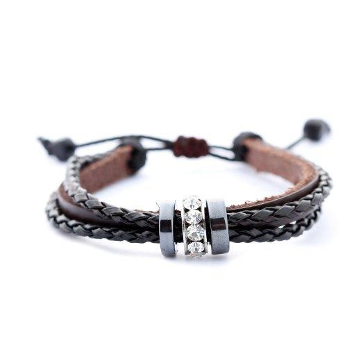 Morella Damen geflochtenes Armband aus Leder mit Ringen und Zirkoniasteinen