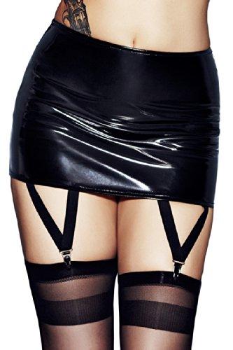 Dessous Sexy Lack-Rock Straps-Rock mit Strumpfhaltern schwarz Reizwäsche Clubwear, Größe:L