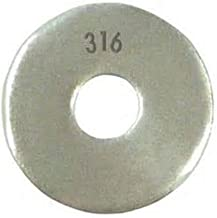 316 Stainless Steel Flat Washer, Plain Finish, Meets DIN 125, M10 Hole Size, 10.5mm ID, 20mm OD, 2mm Nominal Thickness (Pack of 50)