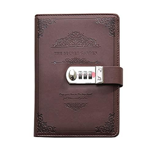 LICHUAN Cuaderno de estilo europeo retro con contraseñas multifunción con bloqueo diario de cuero suave, 96 hojas para la escuela y el hogar (color marrón