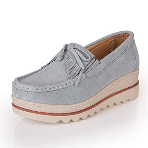 Banbie8409 Frauen Ultraleichte Fransen-Schuhe Lässige Atmungsaktive Slip-On-Schuhe (grau-solide - 40-509#)