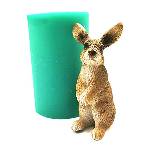 Marginf - Molde de silicona con forma de conejo de Pascua en 3D para decoración de tartas y chocolates
