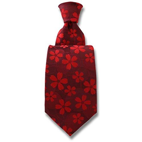 Robert Charles. Cravate. Valentina, Soie. Rouge, Fantaisie. Fabriqué en Italie.