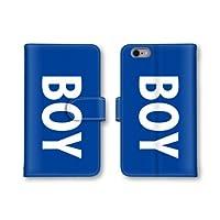 【ノーブランド品】 iphone7 スマホケース 手帳型 BOY ボーイ 英字 ブルー 青 英語 ブルー 青 かわいい おしゃれ 携帯カバー アイフォン7 ケース