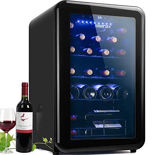 24 Bottle Retro Wine Cooler - Quiet Counter Top Wine Chiller, Freestanding Wine Refrigerator with Digital Display (24 Bottles-Black)