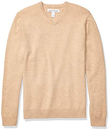 Amazon Essentials Men's Midweight V-Neck Sweater, Camel, Medium