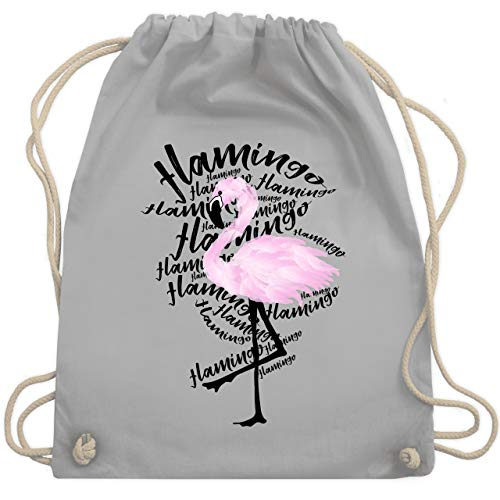 Shirtracer Sonstige Tiere - Flamingo - Unisize - Hellgrau - flamingo turnbeutel - WM110 - Turnbeutel und Stoffbeutel aus Baumwolle