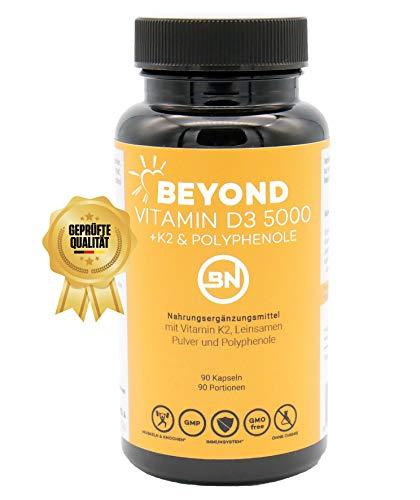 Beyond VITAMIN D3 5000 + K2 MK7 mit Leinsamen Pulver & Antioxidantien, 90 Kapseln im Jahresvorrat - das Sonnenvitamin hochdosiert, bioverfügbar & ohne Zusatzstoffe