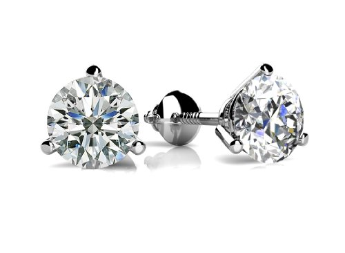 1.00 ct Round Cut Diamond Martini Setting Stud Earrings in Screw Back
