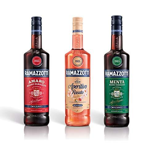 Ramazzotti Sammelset Amaro + Aperitivo + Menta, Kräuterlikör, Aperitif, Alkohol, 2 x 1 L + 700 ml
