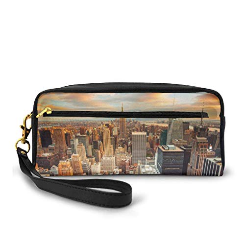 zhengchunleiX Skyline View NYC Pencil Case Large Capacity Pen Bag Makeup Pouch Durable Students Stationery Two Big Pockets with Zipper