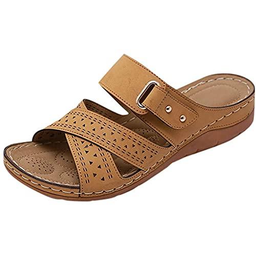 CHLDDHC Sandalias de cuña de las mujeres suaves y cómodas peep toe mulas diapositivas verano ocio zapatos romanos