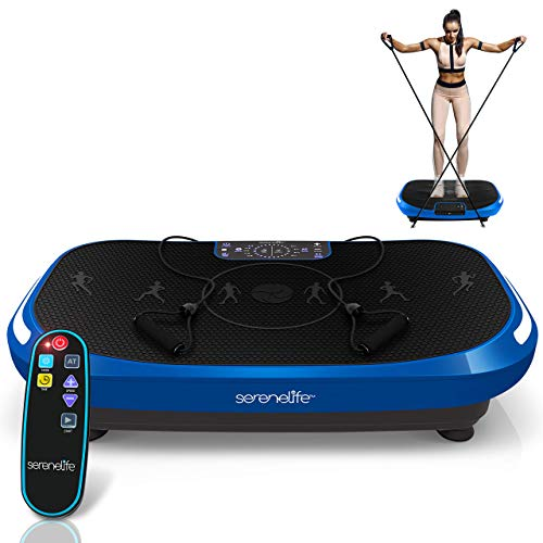 Standing 4D Vibration Plate Exercise Machine - Vibrating Platform Exercise Passive Workout Trainer - Whole Body 3 Motor 4D Motion Technology - Weight Loss & Shaping Resistance Band - SereneLife SLVBX4