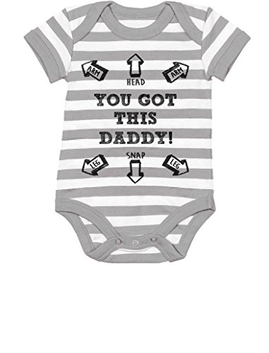 You Got This Daddy Funny New Dad Gift Cute Baby Bodysuit 6M Gray/White