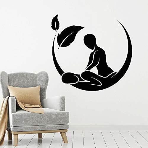 Salón de masajes Logo pegatina de pared vinilo pared ventana calcomanía Spa belleza cuidado de la salud terapia pared pegatina Mural otro color 44X42CM