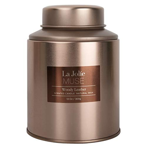 LA JOLIE MUSE Woody Leather Scented Candle, Natural Wax Candle for Home, 85-100 Hours Long Burning, Holiday Candle, Tin, 13Oz/369g