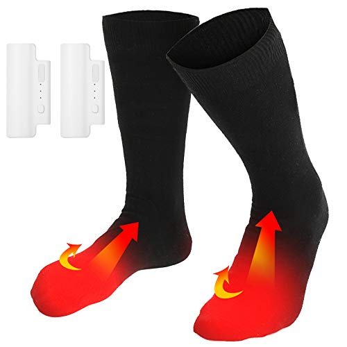 SOONHUA Heated Socks for Men/Women, Rechargeable Battery Thermal Sock, 3 Heat Settings Warm Electric Cotton Socks, Heating Element up to 160℉ for Winter Camping/Fishing/Cycling/Motorcycling/Skiing