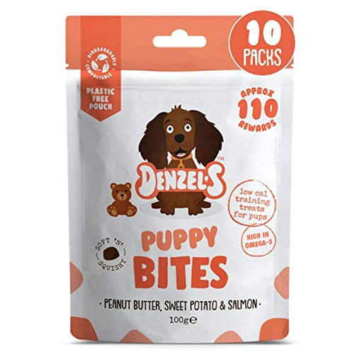 Denzel's Healthy Puppy Treats - Low Calorie, Low Fat, Grain Free, Hypoallergenic, Natural Dog Treats - Puppy Bites: Soft 'n' Squishy Low Calorie Puppy Training Treats x 6 Pouches (10 x 100g)