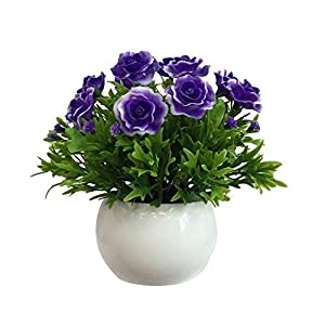 Potted Artificial Flowers Bonsai DIY Fake Plants for Stage Garden Wedding Party Office Decor Purple